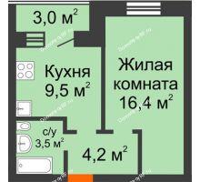 1 комнатная квартира 35,1 м² в ЖК Видный, дом № 2