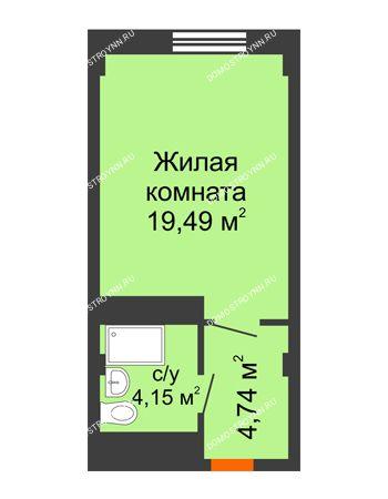 Студия 28,38 м² - Апарт-Отель Гордеевка