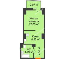 Студия 29,43 м² в ЖК Город у реки, дом Литер 7 - планировка