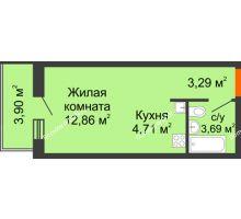 Студия 28,45 м² в ЖК Днепровская Роща, дом № 1 - планировка
