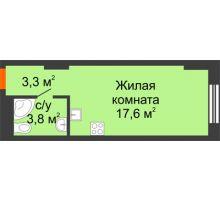 Студия 24,7 м², Комплекс апартаментов KM TOWER PLAZA (КМ ТАУЭР ПЛАЗА) - планировка