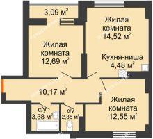 2 комнатная квартира 63,23 м² - ЖК Олимпийский