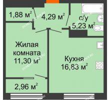 1 комнатная квартира 41,01 м² в ЖК Маленькая страна, дом № 4 - планировка