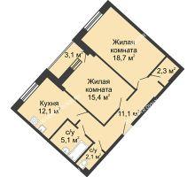 2 комнатная квартира 69,8 м² в ЖК Монолит, дом № 89, корп. 3 - планировка