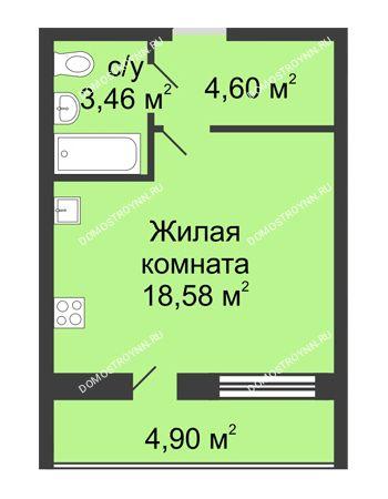 Студия 29,09 м² в ЖК Удачный, дом № 3