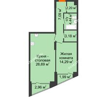 1 комнатная квартира 59,64 м², Клубный дом на Ярославской - планировка