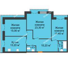 3 комнатная квартира 85,6 м², Жилой дом: г. Дзержинск, ул. Кирова, д.12 - планировка