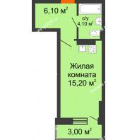 Студия 28,4 м² в ЖК На Тимошенко, дом № 1 - планировка