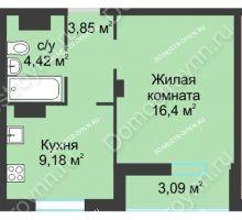 1 комнатная квартира 36,94 м² в ЖК На Вятской, дом № 3 (по генплану)