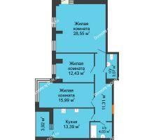 3 комнатная квартира 95,53 м², ЖК Максим Горький - планировка
