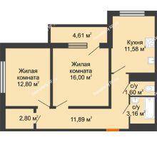 2 комнатная квартира 62,14 м² в ЖК Университетский парк, дом 2 очередь - планировка