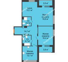 3 комнатная квартира 82,6 м², ЖК Дом мечты - планировка