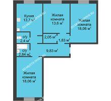 3 комнатная квартира 82,37 м² в ЖК Корабли, дом № 1 - планировка