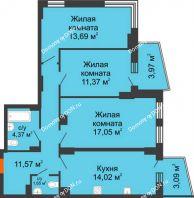 3 комнатная квартира 76,45 м² в ЖК Сердце Ростова 2, дом Литер 8 - планировка
