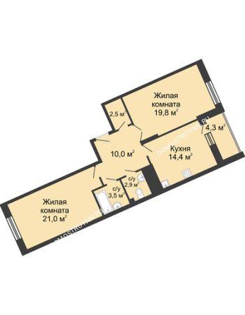 2 комнатная квартира 78,6 м² в ЖК Монолит, дом № 89, корп. 3