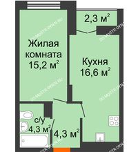 1 комнатная квартира 41,55 м² в ЖК Заречье, дом № 1, секция 1 - планировка