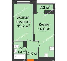 1 комнатная квартира 41,55 м² в ЖК Заречье, дом №1, секция 2 - планировка