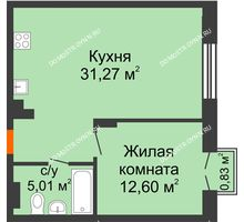 1 комнатная квартира 49,13 м², ЖК Шаляпин - планировка