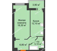 1 комнатная квартира 41,39 м², ЖК Уютный дом на Мечникова - планировка