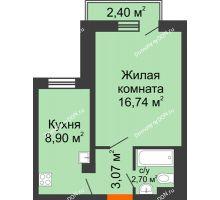 1 комнатная квартира 31,69 м² в ЖК Мечников, дом ул. Мечникова, 37 - планировка