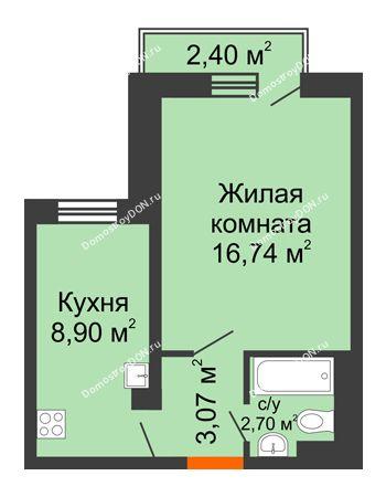 1 комнатная квартира 31,69 м² в ЖК Мечников, дом ул. Мечникова, 37